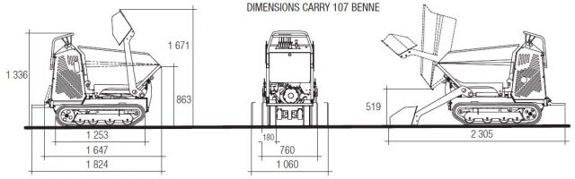 mini-transporteur-imer-carry-107-essence-benne brouette-a-moteur-brouette-a-chenille-specification