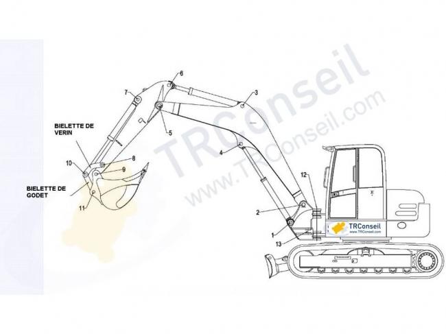 bielette de godet adaptable pour mini pelle yanmar b50